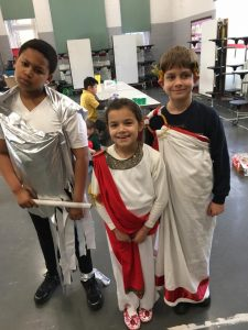 Kids ready for a toga party