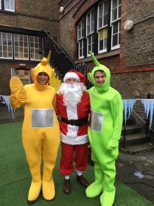 Teletubbies with Santa