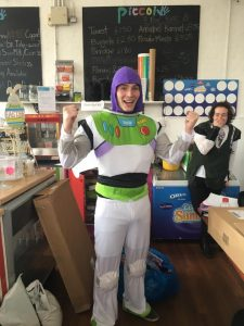 Man in a Buzz Lightyear costume